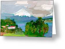 Volcanes Sur De Chile Greeting Card by Carlos Camus