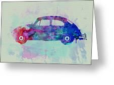 Vw Beetle Watercolor 1 Greeting Card by Naxart Studio