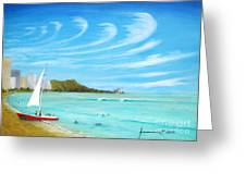 Waikiki Greeting Card by Jerome Stumphauzer