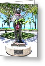Waikiki Statue - Prince Kuhio Greeting Card by Mary Deal