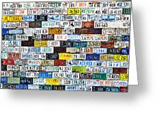 Wall Of American License Plates Greeting Card by Christine Till