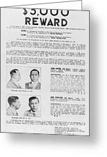 Wanted Poster, 1937 Greeting Card by Granger