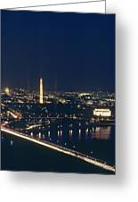 Washington D.c. At Night, Seen Greeting Card by Kenneth Garrett