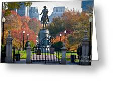 Washington Statue In Autumn Greeting Card by Susan Cole Kelly