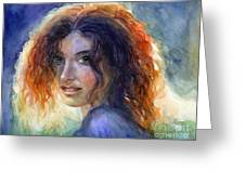 Watercolor Sunlit Woman Portrait 2 Greeting Card by Svetlana Novikova