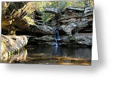 Waterfall At Old Man Cave Greeting Card by Larry Ricker