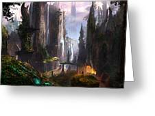 Waterfall Celtic Ruins Greeting Card by Alex Ruiz