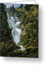 Waterfall In The Bern Highlands Greeting Card by Joseph Anton Koch