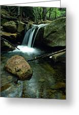 Waterfall In The Woods Greeting Card by Kathy Yates
