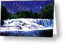 Waterfall Painting Waterfall Prints On Canvas - Agua Azul Greeting Card by Zenisart Gallery