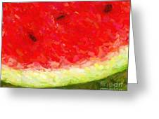 Watermelon With Three Seeds Greeting Card by Wingsdomain Art and Photography