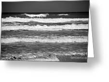 Waves 3 In Bw Greeting Card by Susanne Van Hulst