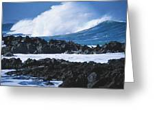Waves And Rocks Greeting Card by Kyle Rothenborg - Printscapes