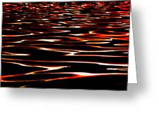 Waves On Fire Abstract Greeting Card by David Patterson