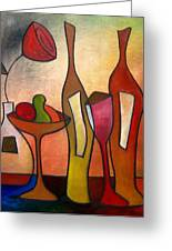 We Can Share - Abstract Wine Art By Fidostudio Greeting Card by Tom Fedro - Fidostudio