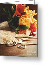 Wedding Ring With Bouquet On Velvet  Greeting Card by Sandra Cunningham