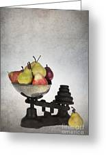 Weighing Pears Greeting Card by Jane Rix