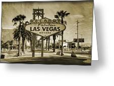 Welcome To Las Vegas Series Sepia Grunge Greeting Card by Ricky Barnard