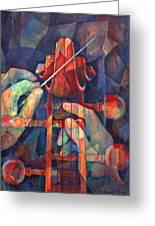 Well Conducted - Painting Of Cello Head And Conductor's Hands Greeting Card by Susanne Clark