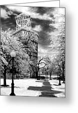 Western Auto In Winter Greeting Card by Steve Karol
