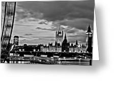 Westminster Black And White Greeting Card by Dawn OConnor