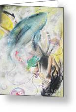 Whales And Bubbles Greeting Card by Melissa Gallardo