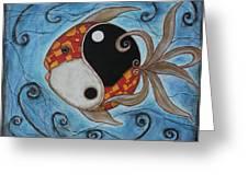 Whimsy Fish 3 Yin And Yang Greeting Card by Rain Ririn