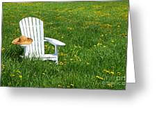 White Chair With Straw Hat Greeting Card by Sandra Cunningham