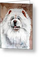 White Chow Chow Greeting Card by Christopher Shellhammer