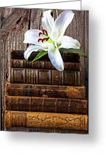 White Lily On Antique Books Greeting Card by Garry Gay