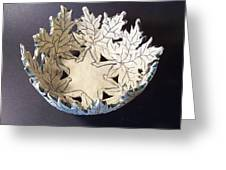 White Maple Leaf Bowl Greeting Card by Carolyn Coffey Wallace