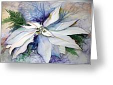 White Poinsettia Greeting Card by Mindy Newman