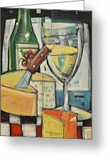 White Wine And Cheese Greeting Card by Tim Nyberg