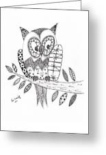 Who Says The Owl Greeting Card by Paula Dickerhoff