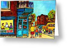 Wilensky's Counter With School Bus Montreal Street Scene Greeting Card by Carole Spandau