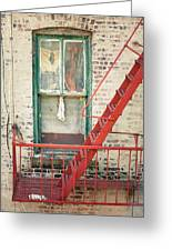 Window And Red Fire Escape Greeting Card by Gary Heller