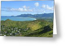 Windward Oahu Panorama IIi Greeting Card by David Cornwell/First Light Pictures, Inc - Printscapes