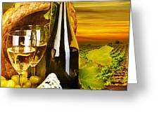 Wine and cheese romantic dinner outdoor Greeting Card by Anna Omelchenko