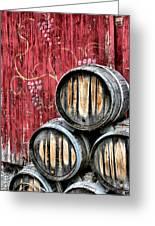Wine Barrels Greeting Card by Doug Hockman Photography