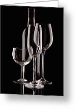 Wine Bottle And Wineglasses Silhouette Greeting Card by Tom Mc Nemar