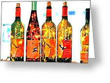 Wine Bottle Lights Greeting Card by Margaret Hood