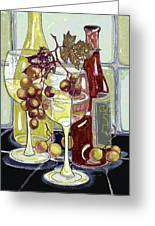 Wine Bottles Grapes And Glasses Greeting Card by Peggy Wilson