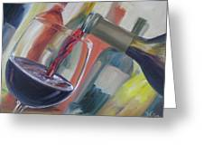 Wine Pour Greeting Card by Donna Tuten