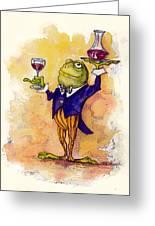 Wine Steward Toady Greeting Card by Peggy Wilson