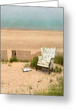 Wingback Chair At The Beach Greeting Card by Jill Battaglia