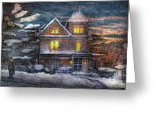 Winter - Clinton NJ - A Victorian Christmas  Greeting Card by Mike Savad