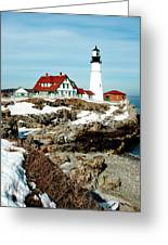 Winter At Portland Head Greeting Card by Greg Fortier