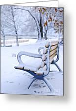 Winter Bench Greeting Card by Elena Elisseeva