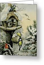Winter Bird Table With Blue Tits Greeting Card by Carl Donner