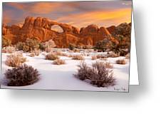 Winter Dawn At Arches National Park Greeting Card by Utah Images